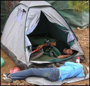Bike in a tent