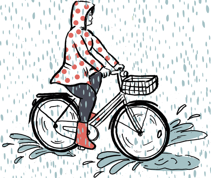 Illustration of a cyclist happily riding through the rain