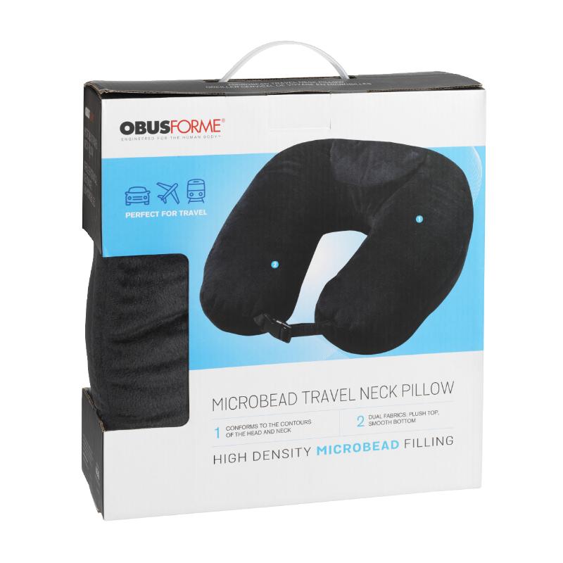 obusforme microbead travel neck pillow pl mtp bk
