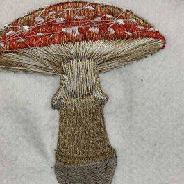 digital machine embroidery mushroom