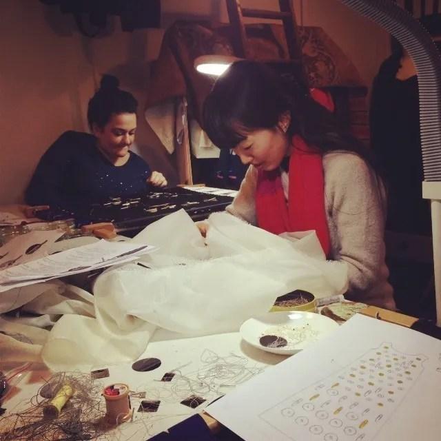 meg and selda Internships with Hawthorne & Heaney, Bespoke Embroidery