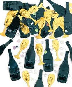 Cheers Black/Gold Table Confetti