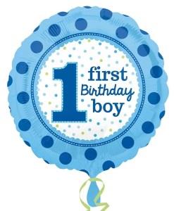 Helium filled 1st birthday boy  Foil Balloon