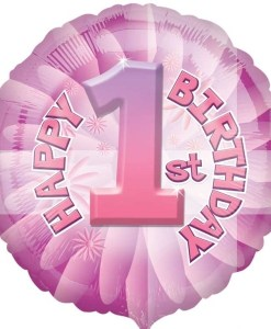 helium filled 1st birthday pink Foil Balloon