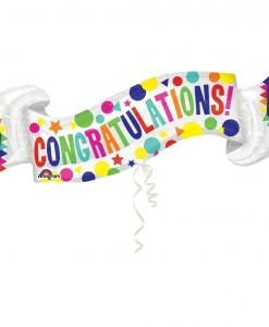 Congratulations Banner Supershape Helium Filled Foil Balloon