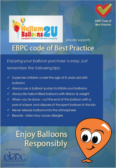 London Helium Balloons adheres to EBPC Code of Best Practice