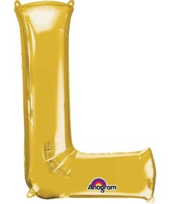 "Gold Supershape Letter L 34"" Helium Filled foil Balloon"