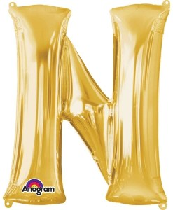 "Gold Supershape Letter N 34"" Helium Filled foil Balloon"