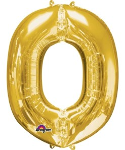 "Gold Supershape Letter O 34"" Helium Filled foil Balloon"