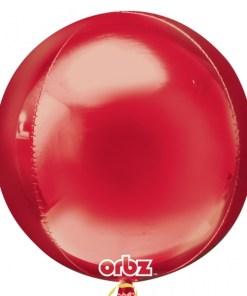 "3 Plain red Orbz 16"" Helium Filled Foil Balloonss"