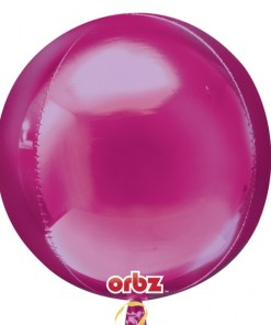 "3 Plain Bright Pink Orbz 16"" Helium Filled Foil Balloons"