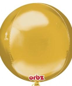 """3 Plain Gold Orbz 16"""" Helium Filled Foil Balloonss"""