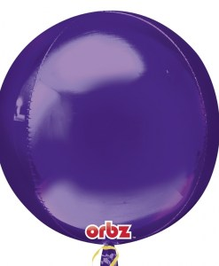 "3 Plain Purple 16"" Orbz Helium Filled Foil Balloonss"