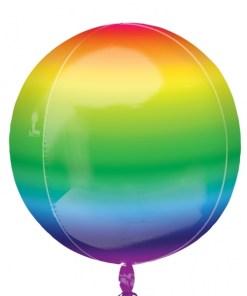 "3 Plain Rainbow 16"" Orbz Helium Filled Foil Balloons"