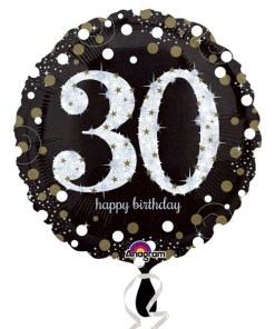 "Sparkling Celebration Black & gold 30th Birthday 18"" Helium Filled Foil Balloon"