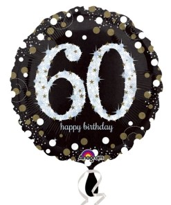 "Sparkling Celebration Black & gold 60th Birthday 18"" Helium Filled Foil Balloon"