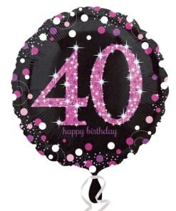 "Sparkling Celebration Black & Pink 40th Birthday 18"" Helium Filled Foil Balloon"