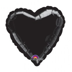 Metallic Black heart Helium Filled Foil Balloon