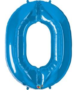 Blue foil 0 balloon.