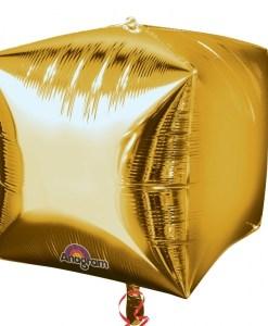 "3 Gold 15"" Helium Filled Cubez Foil Balloons"