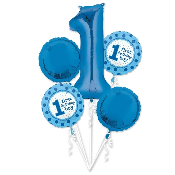 Helium Filled 1St Birthday Boy Bouquet Foil Balloons-9270