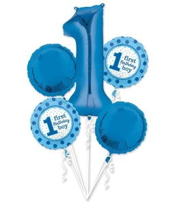 helium filled 1st birthday boy bouquet Foil Balloons