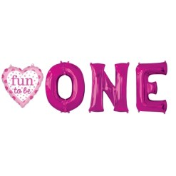 helium filled  fun to be O-N-E girl Foil Balloon