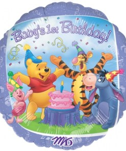 helium filled pooh and friends 1st birthday Foil Balloon