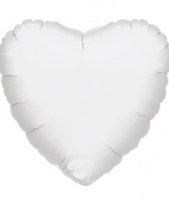helium filled white heart foil balloon