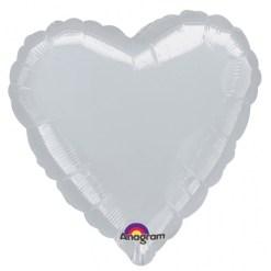 Metallic Silver heart Helium Filled Foil Balloon