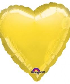 Metallic Yellow heart Helium Filled Foil Balloon