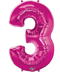 Pink #3 Foil number shape Helium Filled Balloon