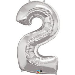 Silver number 2 foil balloon.