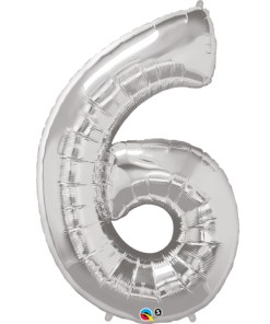 Silver number 6 foil balloon.