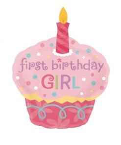 helium filled sweet little cupcake girl supershape Foil Balloon