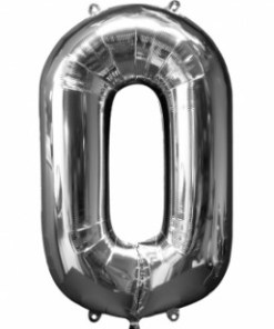 Silver helium Inflated number balloons