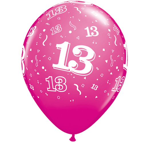 10 13th Birthday 11 Pink Helium Filled Balloons