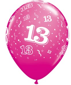 """10 13th Birthday 11"""" Pink  Helium Filled Balloons"""