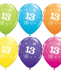 "10 13th Birthday 11"" Assorted Coloured  Helium Filled Balloons"