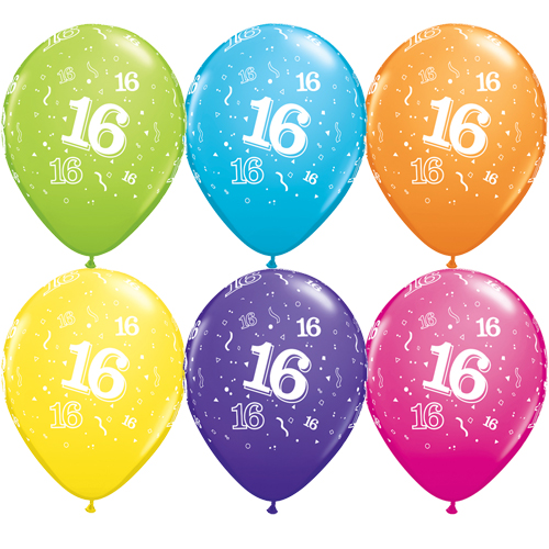 10 16th Birthday 11 Assorted Colour Helium Filled Balloons