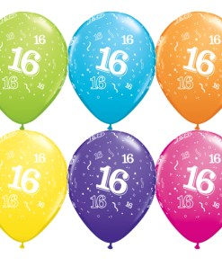 """10 16th Birthday 11"""" Assorted colour  Helium Filled Balloons"""