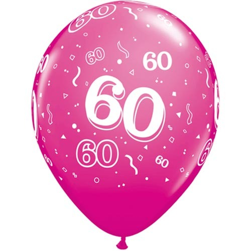10 60th Birthday Pink 11 Helium Filled Balloons