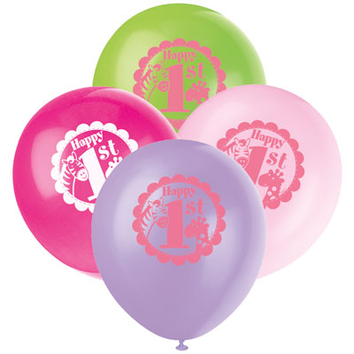 8 1st Birthday Pink Safari Pack Of Latex Balloons At London Helium