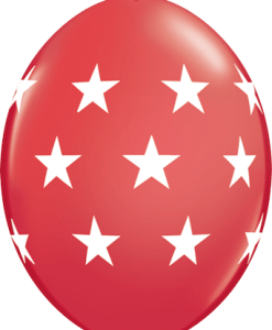 10 Red Big stars helium filled linking balloons