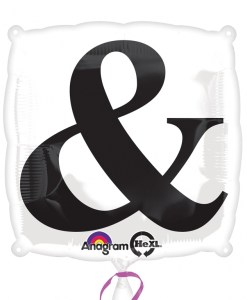 "Black ""&"" on White  foil balloon"