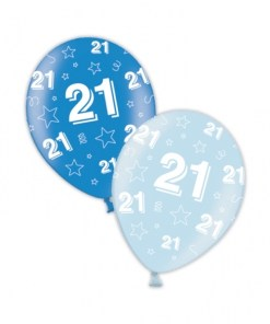 "10 21st Birthday Rich/Icy Blue 11"" Helium Filled Balloons"