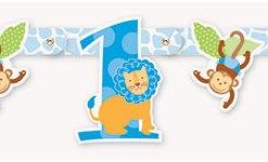 1st Birthday Blue Safari Cutout Banner at London Helium Balloons