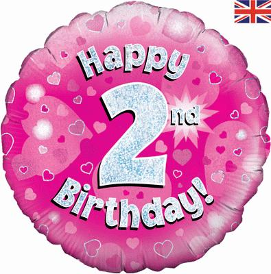 Oaktree Pink 2nd Birthday Helium Balloon At London Balloons