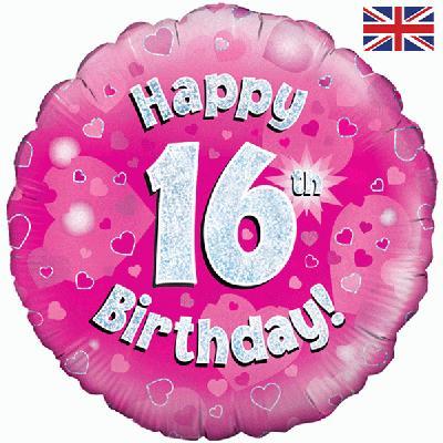 Oaktree Pink 16th Birthday Helium Balloon At London Balloons