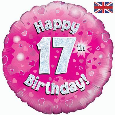 Oaktree Pink 17 ThBirthday Helium Balloon At London Balloons